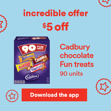 Incredible offer - $5 off - Cadbury chocolate Fun treats - Download the app