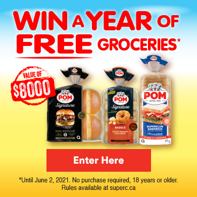 POM contest - Win a year of free groceries - Enter Here