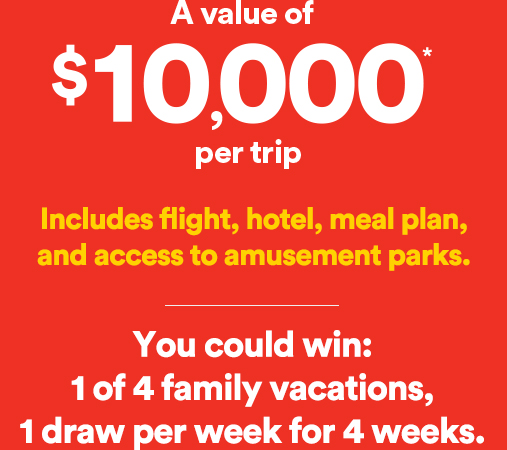 A value of $10,000 per trip. Includes flight, hotel, meal plan, and access to amusement parks.