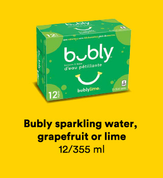 Bubly sparkling water, grapefruit or lime, 12/355 ml