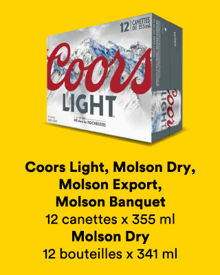 Coors Light, Molson Dry, Molson Export, Molson Banquet, 12 canettes x 355 ml et Molson Dry 12 bouteilles x 341 ml