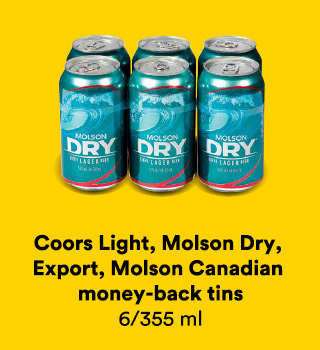 Coors Light, Molson Dry, Export, Molson Canadian money-back tins 6/355 ml