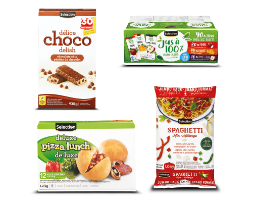 Products: chocolate bar, box juice, deluxe lunch pizza, mixed vegetables for spaghetti.